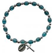 Brazalete de acero con esmalte azul y milagrosa