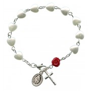 Bracelet chapelet de perles en forme de coeur et une Rose Rouge