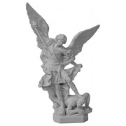 "St.Michael Composite Marble Statue White cm.29- 11 1/2"""