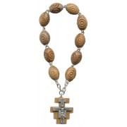 Carved Olive Wood Decade Rosary with a St.Damian Cross