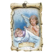 "Guradian Angel Rasied Scroll Plaque cm.10x15- 4""x6"""