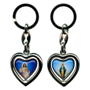 Heart Shaped Keychain of Divine Mercy/ Miraculous