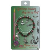 Boxed Christmas Charm Bracelet with Red and Green Beads