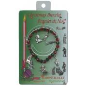 Pulsera del rosario en caja con los encantos de Navidad