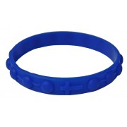 Bracelet chapelet en silicone élastique dans la couleur bleue