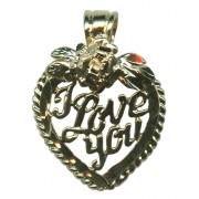 Heart with Rose I LOVE YOU Pendent