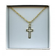 Outlined Cross Gold Plated Pendent with Chain and Box