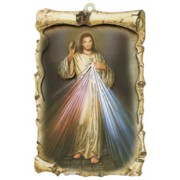 "Divine Mercy Raised Scroll Plaque cm.10x15 - 4""x6"""