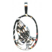 SIlver Praying Hands Pendent Genuine Rhodium Plating
