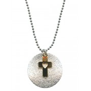 2 Tone Cross Necklace with Gift Box