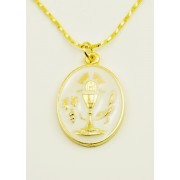 Communion Silver Oxidated Enameled Medal + Chain