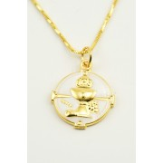 Communion Gold Plated Enameled Medal + Chain