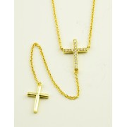 Gold Plated Cross Pendants + Chain