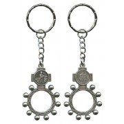 St.Patrick and Ora Pro Nobis (Pray for Us) Basco Rosary Ring Keychain