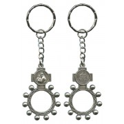 St.Anthony and Ora Pro Nobis (Pray for Us) Baco Rosary Ring Keychain