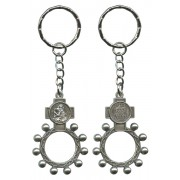 St.Christopher and Ora Pro Nobis (Pray for Us) Basco Rosary Ring Keychain