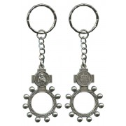 St.Jude and Ora Pro Nobis (Pray for Us) Basco Rosary Ring Keychain