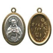 Sacred Heart of Jesus / Pray for Us Oval Medal
