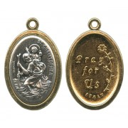 St.Christopher / Pray for Us Two Toned Oval Medal