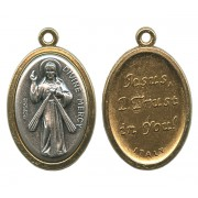 Divine Mercy / Jesus I Trust in You Two Toned Oval Medal