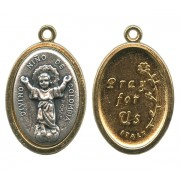 Divino Nino / Pray for Us Two Toned Oval Medal