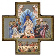 "Last Supper Solid Wood Crucifix cm.15x15 - 6""x6"""