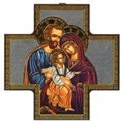 "Icon Holy Family Wood Crucifix cm.15x15 - 6""x6"""
