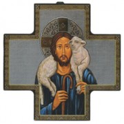 "Good Shepherd Wood Crucifix cm.15x15 - 6""x6"""