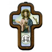 "Communion Cross with Wood Frame cm.10x14.5 - 4""x5 3/4"""
