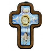 "Confirmation Cross with Wood Frame cm.10x14.5 - 4""x5 3/4"""