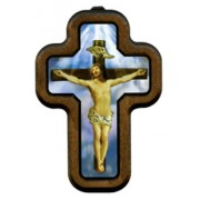 """Jesus on the Cross with Wood Frame cm.10x14.5 - 4""""x5 3/4"""""""