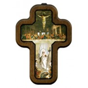 """Last Supper Cross with Wood Frame cm.10x14.5 - 4""""x5 3/4"""""""