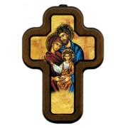 "Icon Holy FamilyCross with Wood Frame cm.10x14.5 - 4""x5 3/4"""