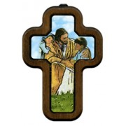 "Jesus with Children Cross with Wood Frame cm.10x14.5 - 4""x5 3/4"""