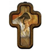 """Jesus Praying Cross with Wood Frame cm.10x14.5 - 4""""x5 3/4"""""""