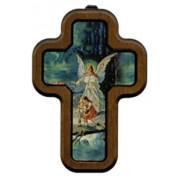 "Guardian Angel Bridge Cross with Wood Frame cm.10x14.5 - 4""x5 3/4"""