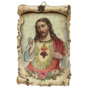 "Sacred Heart of Jesus Raised Scroll Plaque cm.10x15 - 4""x6"""