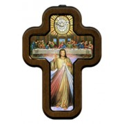 """Divine Mercy, Holy Spirit, Last Supper Cross with Wood Frame cm.10x14.5 - 4""""x5 3/4"""""""