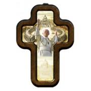 "Pope John Paul II Cross with Wood Frame cm.10x14.5 - 4""x5 3/4"""