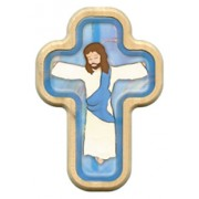 "Blue Cartoon Jesus Crucified Cross with Wood Frame cm.10x14.5 - 4""x5 3/4"""