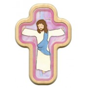 "Pink Cartoon Jesus Crucified Cross with Wood Frame cm.10x14.5 - 4""x5 3/4"""