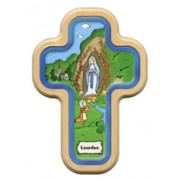 "Cartoon Lourdes Cross with Wood Frame cm.10x14.5 - 4""x5 3/4"""
