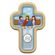 "Light Blue Communion Cross with Wood Frame cm.10x14.5 - 4""x5 3/4"""