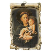 "St.Anthony Raised Scroll Plaque cm.10x15 - 4""x6"""
