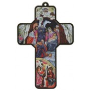 "Nativity Wood Laminated Cross cm.13x9 - 5""x 31/2"""