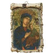 "Perpetual Help Raised Scroll Plaque cm.10x15 - 4""x6"""