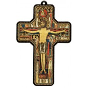 "St.Damian Wood Laminated Cross cm.13x9 - 5""x 31/2"""