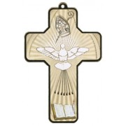 "Holy Spirit Wood Laminated Cross cm.13x9 - 5""x 31/2"""