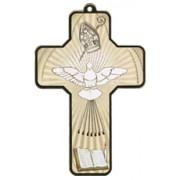 "Holy Spirit Wood Laminated Cross cm.13x9 - 5""x 31/2"""
