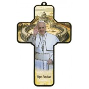 "Pope Francis Wood Laminated Cross cm.13x9 - 5""x 31/2"""